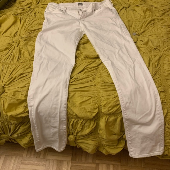 Citizens of Humanity white straight leg jeans.